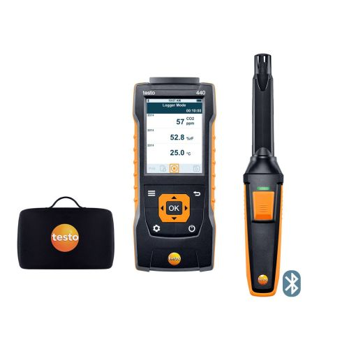 Set testo 440 CO2 et poignée Bluetooth, en sacoche.