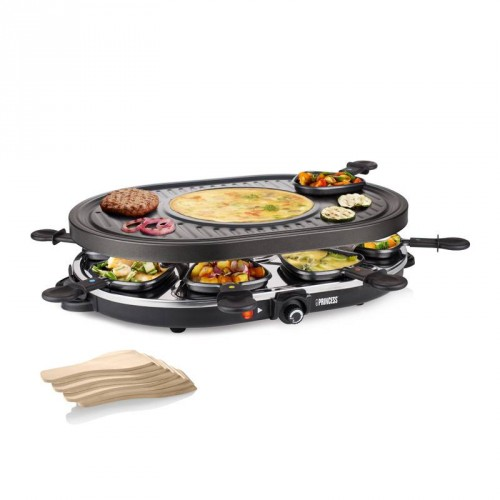 Raclette 8 Oval Grill Party 8 pans - Multifunctional plate (42 x 30 cm)