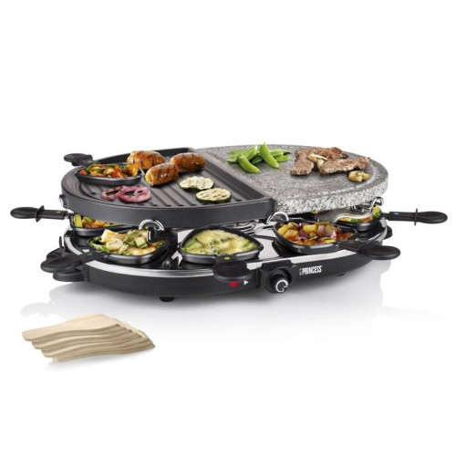 Raclette 8 Oval Stone & Grill Party 8 pans - Multifunctional plates (2 x 21 x 30 cm)
