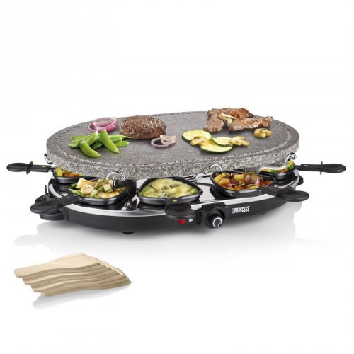 Raclette 8 Oval Stone Grill Party 8 pans - Stone grill (Ø 43 x 30 cm)