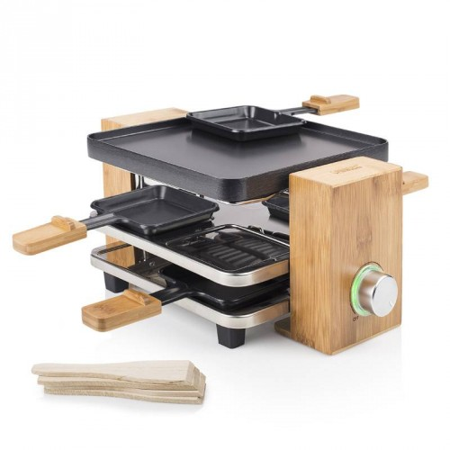 Raclette Pure 4 Natural bamboo housing - Parking deck for 4 pans