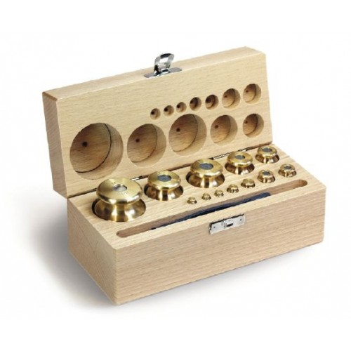 M2 1 g -  50 g Set of weights in wooden box, Finely turned brass - Brand Kern Ref 354-42