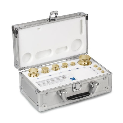 M2 1 g -  200 g Set of weights in aluminium case, Finely turned brass - Brand Kern Ref 354-446