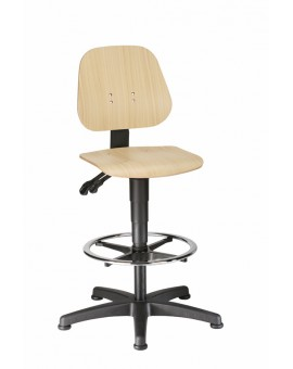 Unitec on glides with footrest, seat height of 580-850 mm, beech plywood, Ref: 9651