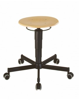 Stool with castors, seat height 460-630 mm beech plywood, Ref: 9468