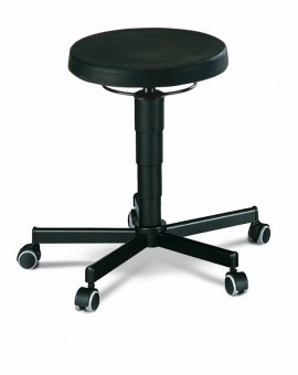 Stool on castors, seat height of 460-630 mm, upholstery of integral foam, Ref: 9468
