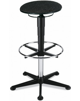 Stool on glides with footrest, seat height of 570-850 mm, upholstery fabric, Ref: 9469
