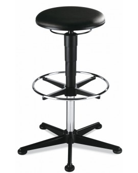 Stool on glides with footrest, seat height of 570-850 mm, upholstery Artificial leather, Ref: 9469