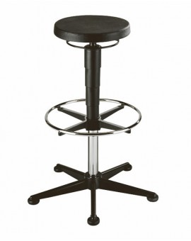 Stool on glides with footrest, seat height of 570-850 mm, upholstery of integral foam, Ref: 9469