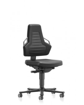 Nexxit on castors, seat height handles 450-600 mm, Upholsterys black Artificial leather, Ref: 9033-MG01