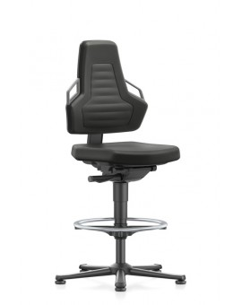 Nexxit on glides with footrest, seat height handles 570-820 mm, Upholsterys black fabric, Ref: 9031-6801