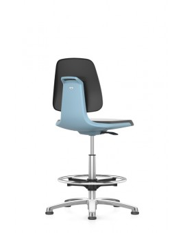Labsit on glides with footrest, seat height of 520-770 mm, Supertec, shell colored base, Ref: 9121-525