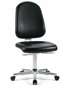 Cleanroom Plus on castors, seat height 440-565 mm hightwise record of 500 mm, upholstery Artificial leather, Ref: 9161