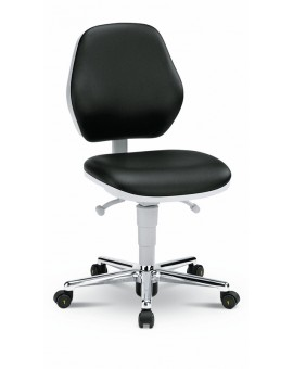Basic Laboratory on castors, seat height of 470-610 mm, upholstery Artificial leather, Ref: 9140