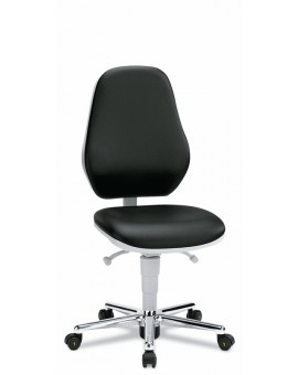 Basic Laboratory on castors, seat height of 470-610 mm, upholstery Artificial leather, Ref: 9145