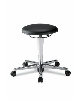 Cleanroom stool on castors, seat height of 460-630 mm, upholstery Artificial leather, Ref: 9468R