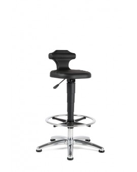 ESD Flex seat height of 510-780 mm, integral foam plastic base on glides with footstool, Ref: 9419E
