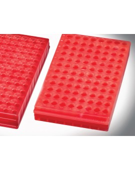 96 Place Reversible Microtube Storage Racks, Red, Autoclavable, 2500-224-000-9