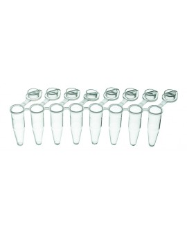 PurePlus® 0.2 mL 8-Well PCR Tube Strips with Individually Attached Clear Flat Caps, in Bags, 3927-550-000-9